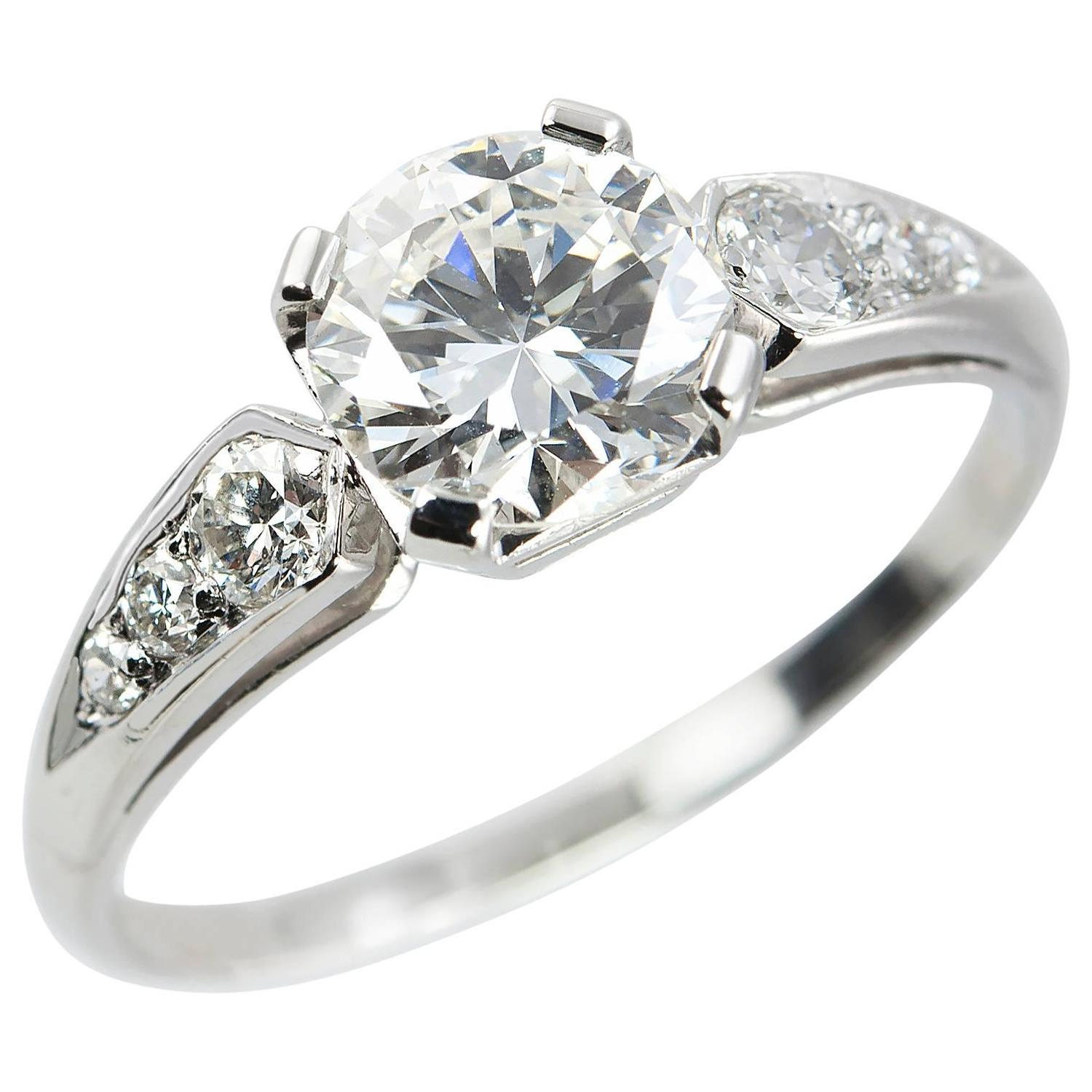 1 05 Carat Diamond And Platinum 1950s Engagement Ring For