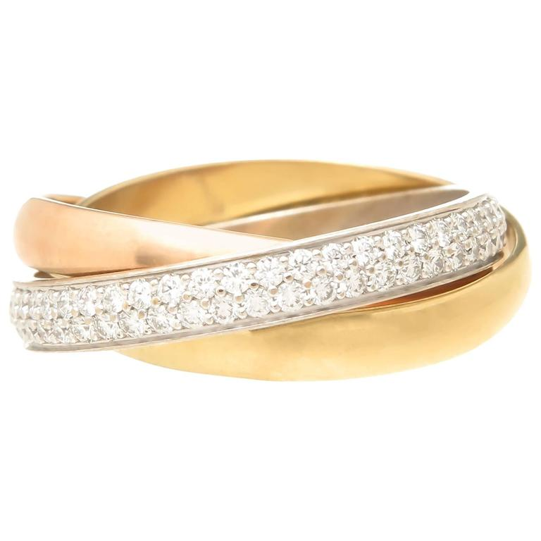 Cartier Tri Color Gold Diamond Trinity Rolling Ring