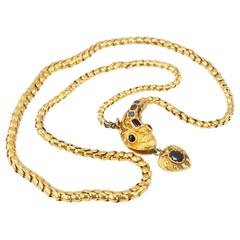 Victorian Garnet Gold Snake Necklace