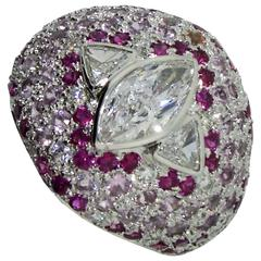 Diamond Ring, 18 Kt. White Gold Pink Red and Natural Sapphire Diamonds