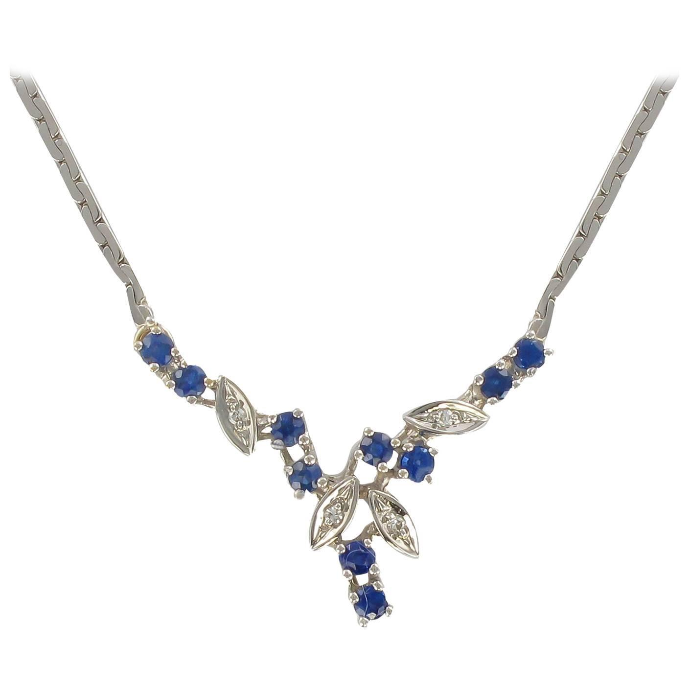 Modern White Gold Sapphire and Diamond Necklace at 1stdibs