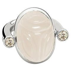 Colleen B. Rosenblat Moonstone Diamonds Scarab Ring