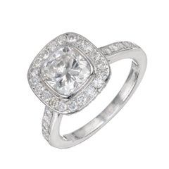 GIA Certified 1.51 Carat Diamond Halo Platinum Engagement Ring