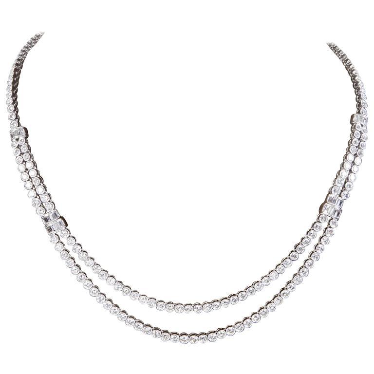 Two Row Diamond Platinum Tennis Necklace