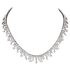 Multi Shape Diamonds Gold Drop Choker Necklace