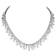 Multi Shape Diamonds Gold Drop Choker Necklace