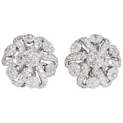 Diamond Scene 2.98 Carat Diamonds Gold Button Earrings