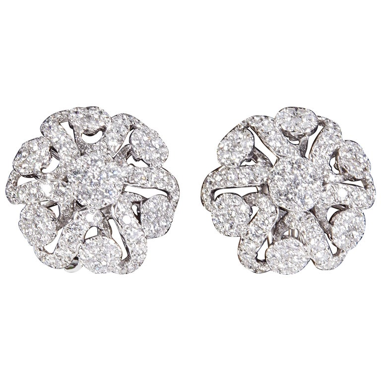 Diamond Scene 2.98 Carat Diamonds Gold Button Earrings For Sale