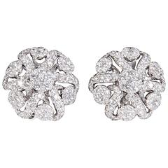 Diamond Scene 2.98 Carats Diamonds Gold Button Earrings