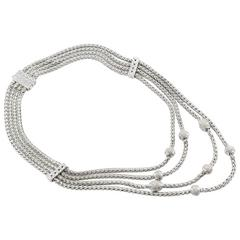 John Hardy Sterling Silver and Diamond 8 Station Bali Classic 4 Row Necklace
