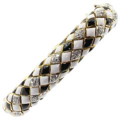 David Webb 18K Gold, Platinum, Enamel, and Diamond Flexible Bracelet