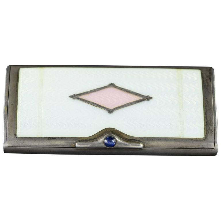 Vintage Pink & White Enamel Box For Sale