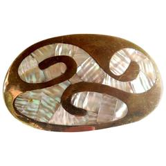 Mexican Modernist Mother-of-Pearl Brass Belt Buckle