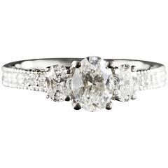 1.32 Carat Total Weight Diamond 3 Stone Gold Engagement Ring
