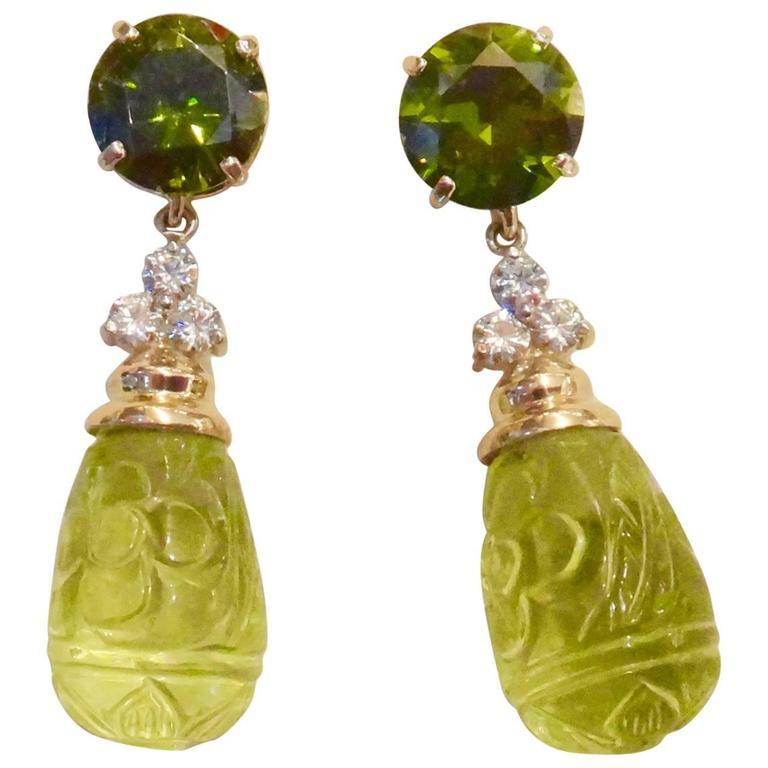 Green Zircon Diamond Carved Lemon Citrine Dangle Earrings 1