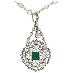 Antique Georgian Emerald & Diamond Pendant in 14k Gold Silver Top - HM1435
