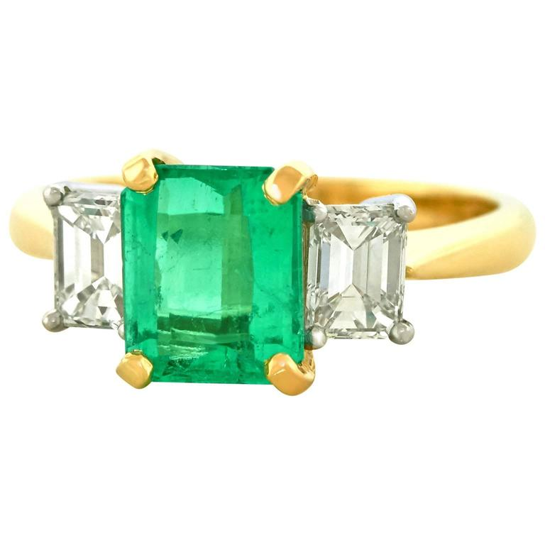 1.84 Carat Colombian Emerald and Diamond Set Gold Ring GIA
