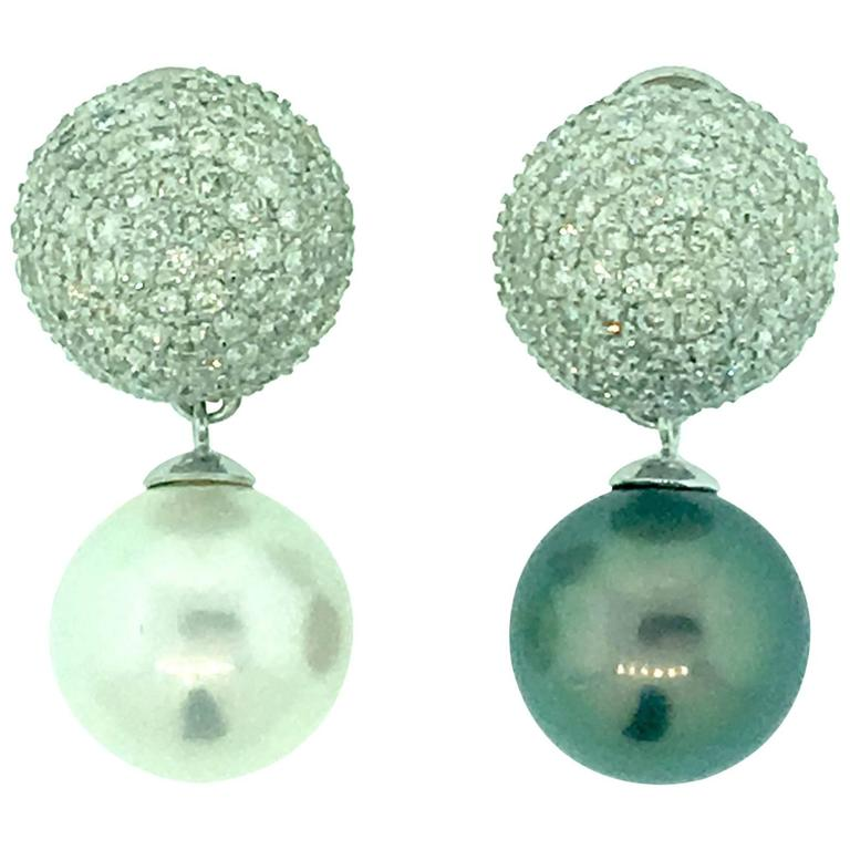 Diamond Pave Earrings with Black & White Tahitian Pearl in 18k and Platinum