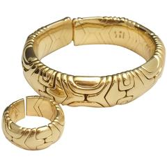 Bulgari Alveare collection Gold ring and bracelet set