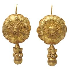 Rare Early 1900's Indian 22K Gold Earrings with Fine Granulation Work