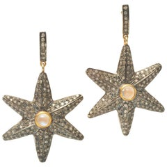 Diamond and Moonstone Star Earrings