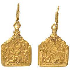 Pair of Antique 22 Karat Gold Pendants, Indian