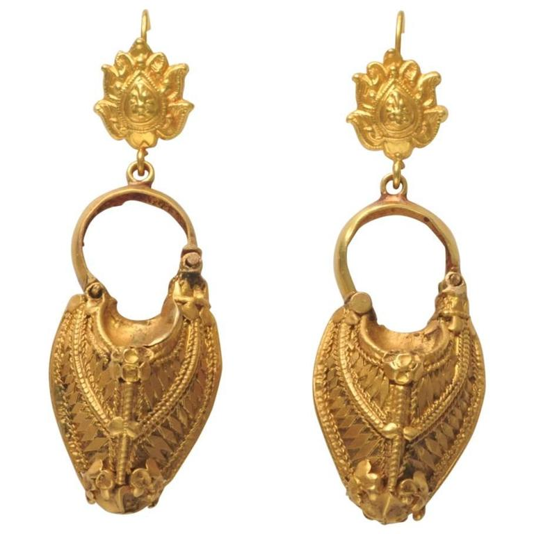 Rare Antique Indian Gold Earrings