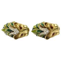 Vintage 18K Gold Enamel and Diamond Lion Head Cufflinks