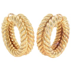 Hammerman Brothers Huge Twisted Gold Hoop Earrings