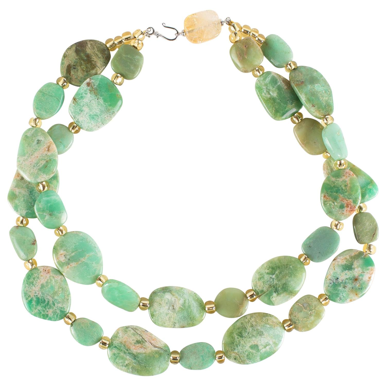 Two Strand Necklace of Flat Polished Chrysoprase Uneven ...