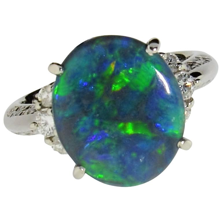 black opal platinum ring for sale at 1stdibs