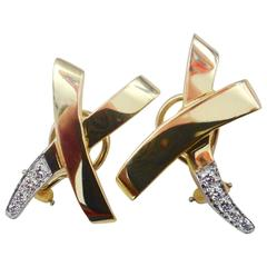 Tiffany & Co. Paloma Picasso Pave Diamond Yellow Gold Platinum X Earrings