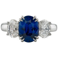 GIA Certified Blue Sapphire & Diamond Hand Fabricated Platinum Ring