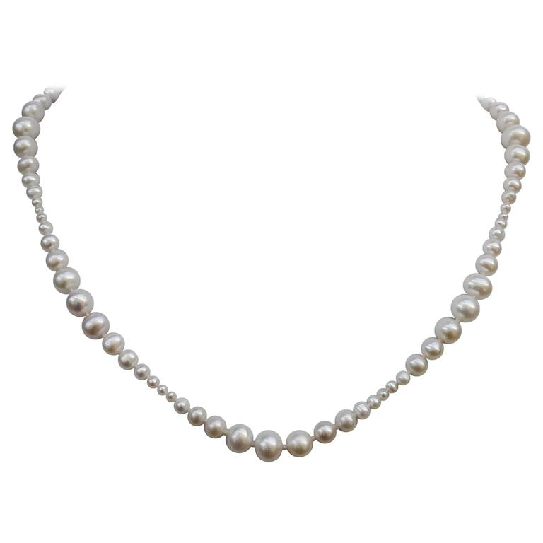 Graduated White Pearl Necklace with 14k Yellow Gold Clasp