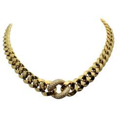 Diamond Graduated Link Gold Necklace