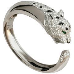 Cartier Diamond Gold Panther Bangle Bracelet