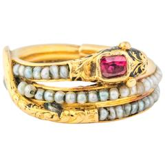 Victorian Era Mourning Serpent Gold Ring ft. Ruby and Seed Pearls