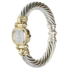 David Yurman Ladies Yellow Gold Silver Diamonds Mother-of-Pearl Wristwatch