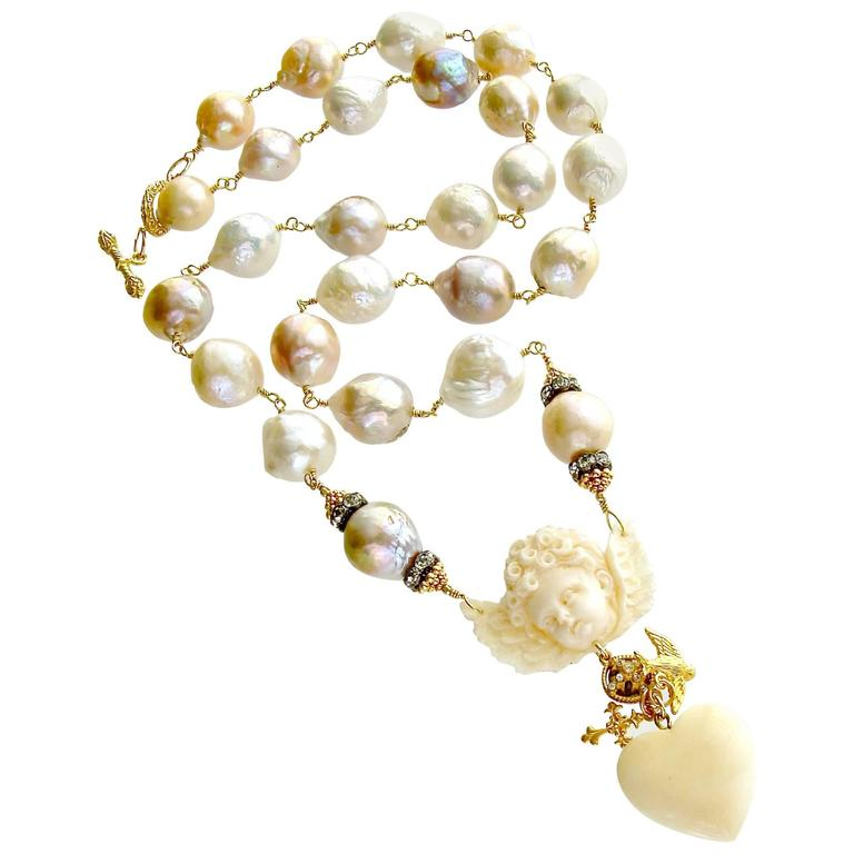 Multi Color Baroque Pearls EcoIvory Cherub Necklace 1