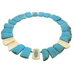 Turquoise & 18kt Gold Necklace with Australian Boulder Opal Clasp