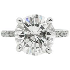 4.02 Carat GIA Round Brilliant Cut Diamond and Platinum Ring