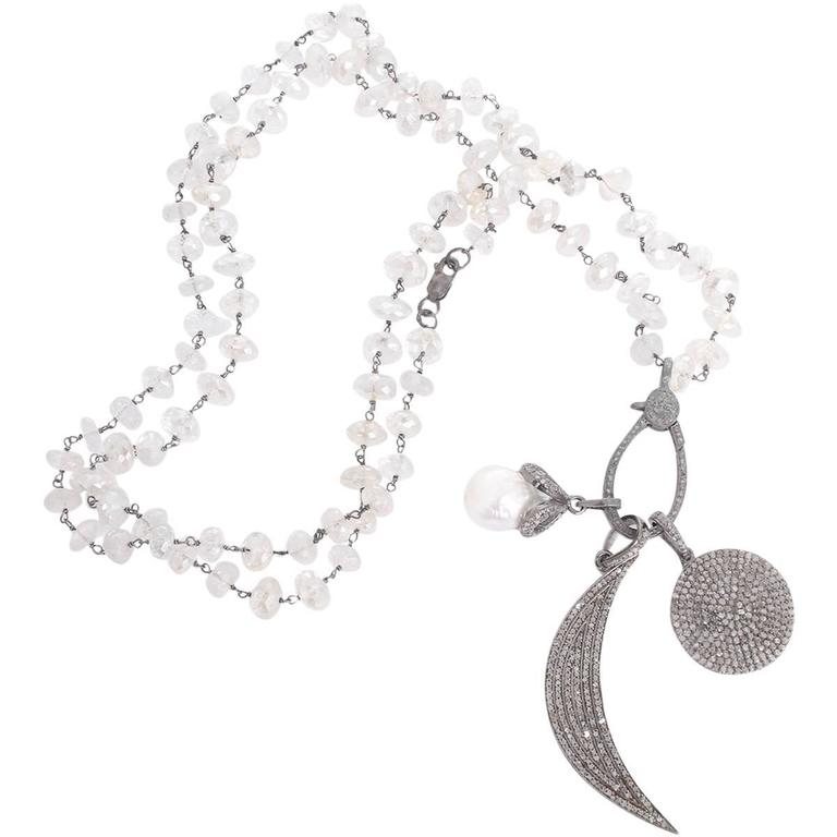 Boho Clear Quartz, Diamond, and Pearl Disc Moon Pendant Necklace