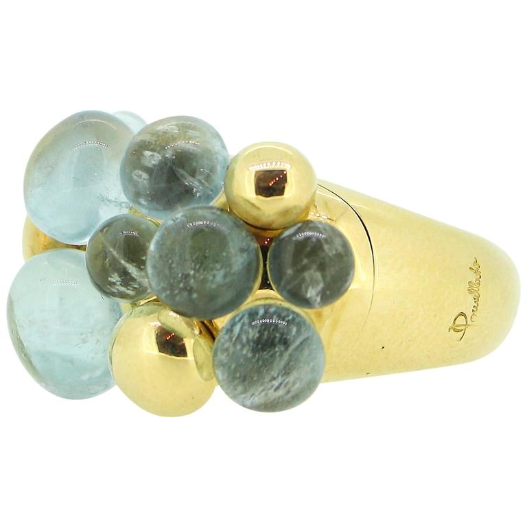 Pomellato Capri 18k Yellow Gold and Aquamarine Ring For Sale