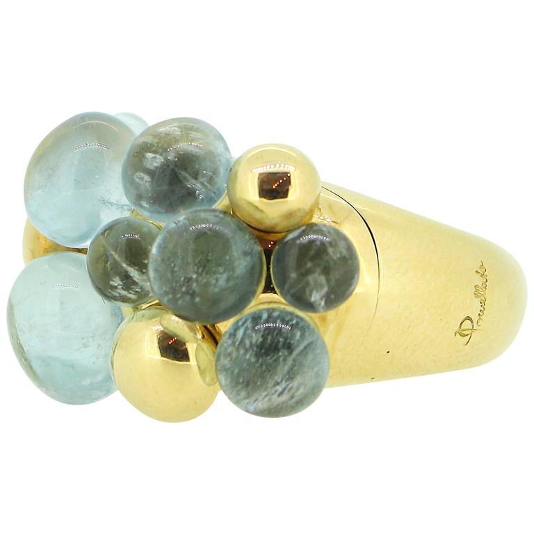 Pomellato Capri 18k Yellow Gold and Aquamarine Ring