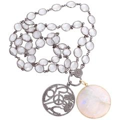 Beautiful Clear Quartz, Diamond, and Moonstone Pendant Necklace