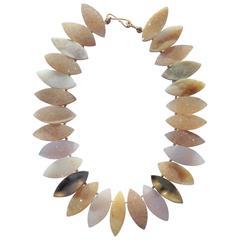 Druzy  Gold Petal Necklace