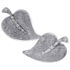 Diamond White Gold Leaf Textured Earrings Handmade in NYC Limited Edition