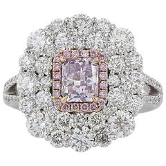 1.02 Carat GIA Fancy Pink/Purple I1 Diamonds with 2.97 Carat Diamonds