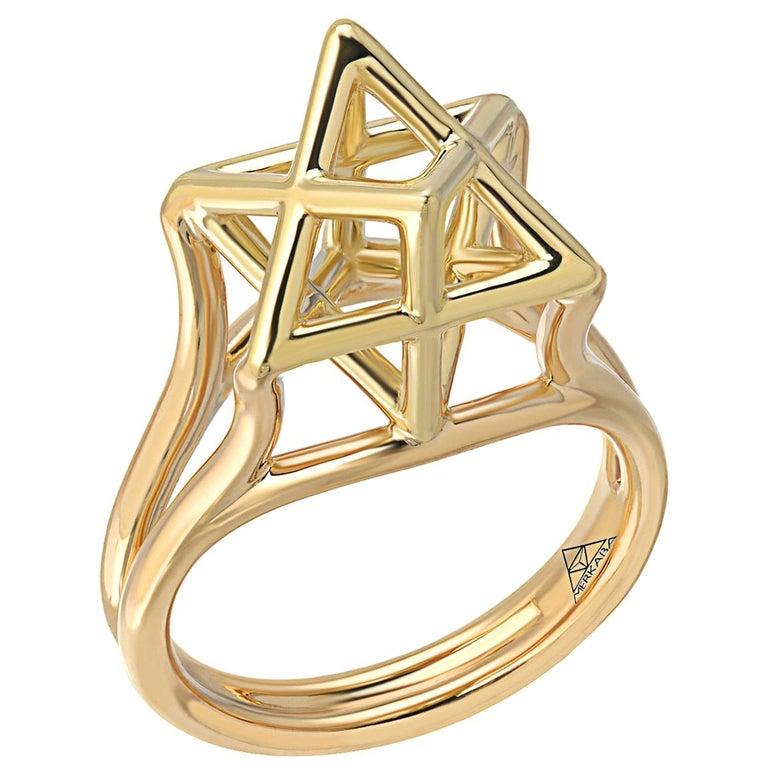 Three Dimensional Star of David Merkaba Gold Ring For Sale