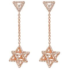 Merkaba Diamond Rose Gold Geometric Drop Earrings